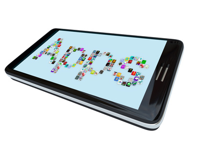 """Smartphone with the word """"Apps"""" on the screen made out of app icons"""