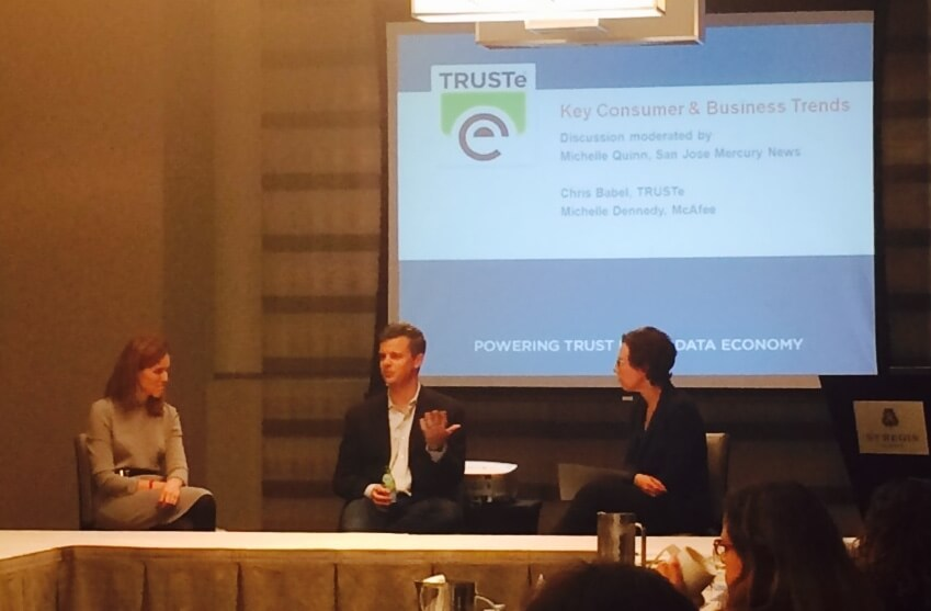 Michelle Dennedy, VP and Chief Privacy Officer at McAfee; Chris Babel, CEO of TRUSTe, and Michelle Quinn, Business Columnist at the San Jose Mercury News discuss privacy as it relates to businesses and consumers at the Privacy Insight Series on Data Privacy Day.